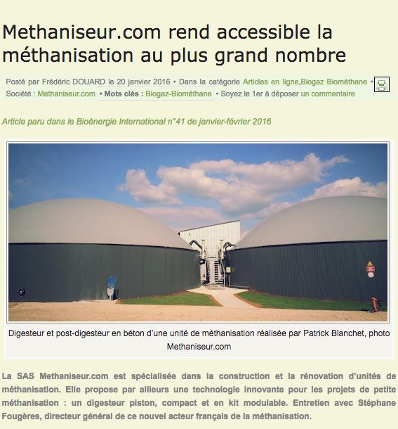 Methaniseur.com bioenergie janv 2016